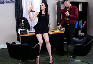 Brunette assistant seducing her horny boss