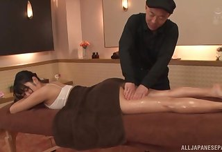 Jinguuji Nao gets oiled and fucked by a aberrant older dude. HD